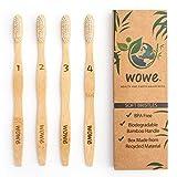 Beauty : WowE Natural Bamboo Toothbrush Individually Numbered, BPA Free Bristles, Pack of 4