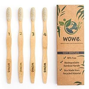 WowE Natural Bamboo Toothbrush Individually Numbered, BPA Free Bristles, Pack of 4