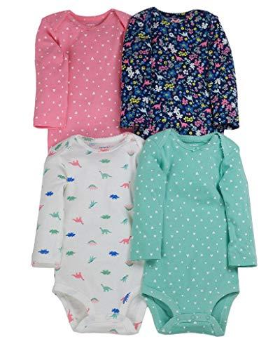 Carter's Baby Girls 4-Pack Original Long Sleeve Bodysuits (Dino),Pink,12 Months
