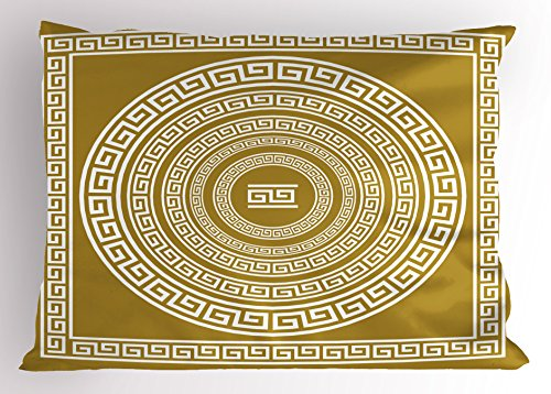 (Ambesonne Greek Key Pillow Sham, Frieze with Vintage Ornament Meander Pattern from Greece Retro Twist Lines, Decorative Standard King Size Printed Pillowcase, 36