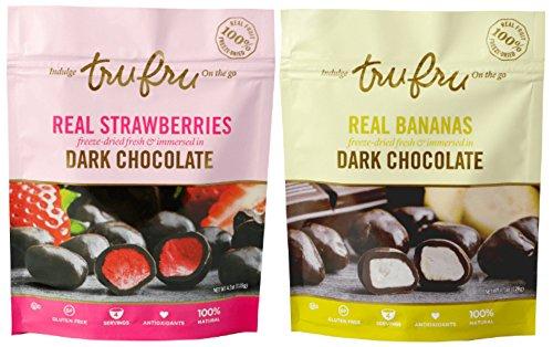 Tru Fru Freeze-Dried Real Fruit, Dark Chocolate-Covered Candy, 2 Pack (Strawberry/Banana)