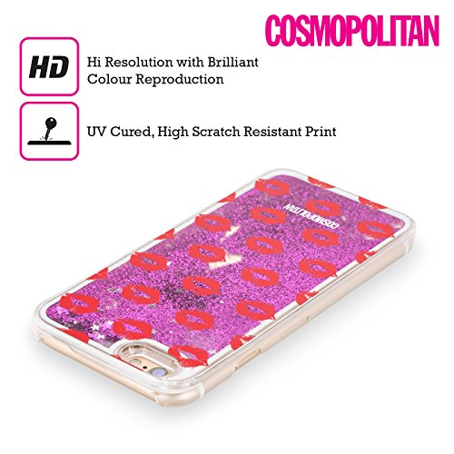 Official Cosmopolitan Red Kiss Mark Purple Liquid Glitter Case Cover for Apple iPhone 6 / 6s