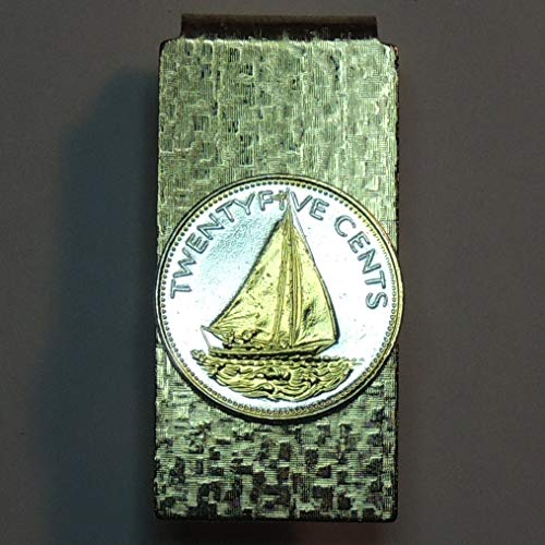 Bahamas Sail boat - Gorgeously 2-Toned (Uniquely hand done) Gold on Silver coin (Hinged) Money clips for men for dad Christmas groomsmen birthday for him for - Hinged Christmas