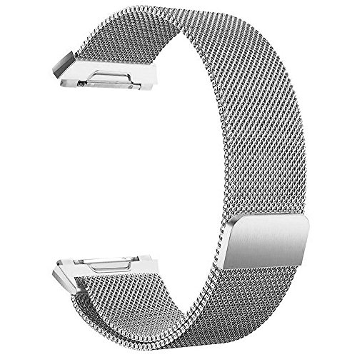 Frler for Fitbit Ionic Bands Small and Large for Women Men, Fully Magnetic Closure Clasp Mesh Loop Milanese Stainless Steel Metal Ionic Sport Band Accessories for Fitbit Ionic Smartwatch