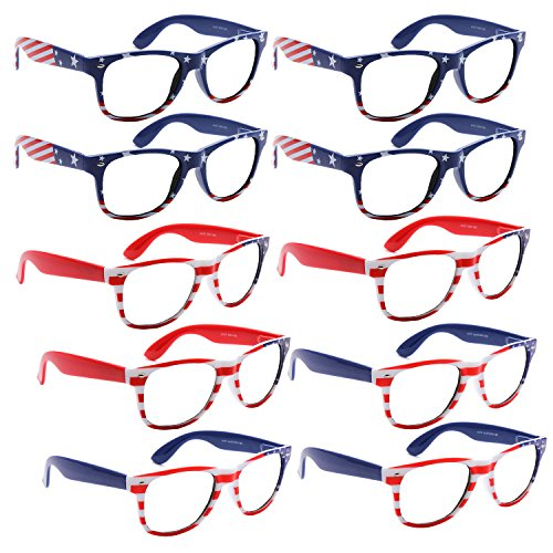 BULK WHOLESALE UNISEX 80'S RETRO STYLE BULK LOT PROMOTIONAL SUNGLASSES - 10 PACK (Assorted Clear Lens American - Sunglasses American Lenses Flag With
