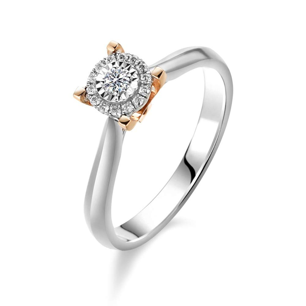 Tone Gold Finish 925 Silver 1.00 Ct Round Cut Simulated Diamond Halo Solitaire Engagement Ring 14k Two