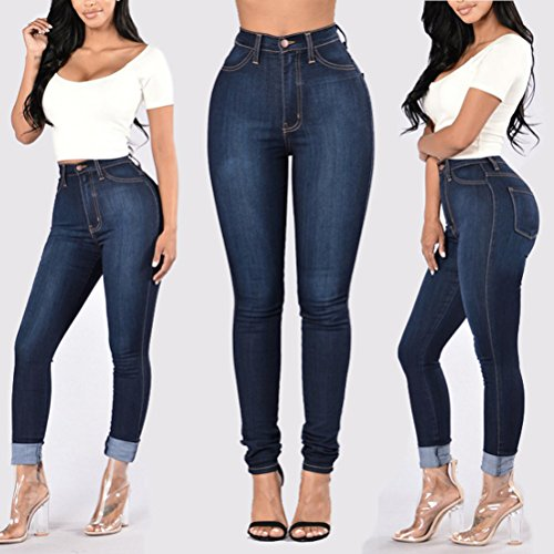 Blue Zhhlaixing Dark lastique Grande Stretch XXXL Classic Jeans High Taille Blue Ripped Washed Skinny Femme Cw6xCqrpO