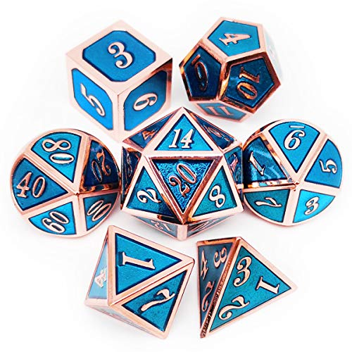 Haxtec Metal DND Dice Set Heavy D&D Dice for Dungeons and Dragons Pathfinder Roleplaying Table Games-Enamel Dice Copper Blue