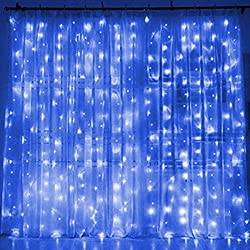 Twinkle Star 300 LED Window Curtain String Light for Wedding Party Home Garden Bedroom Outdoor Indoor Wall (Blue)