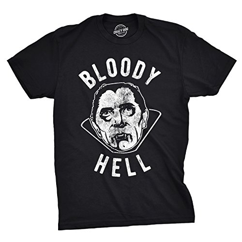 Crazy Dog T-Shirts Mens Bloody Hell Tshirt Funny Halloween Party Vampire Tee for Guys (Black) - XXL (Best Halloween Trick Or Treat Horror Mix)