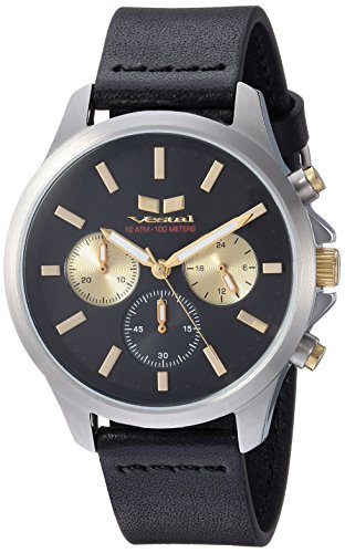 Vestal 'Heirloom Chrono' Quartz Stainless Steel and Leather Dress Watch, Color:Black (Model: HEI39CL05.BK)