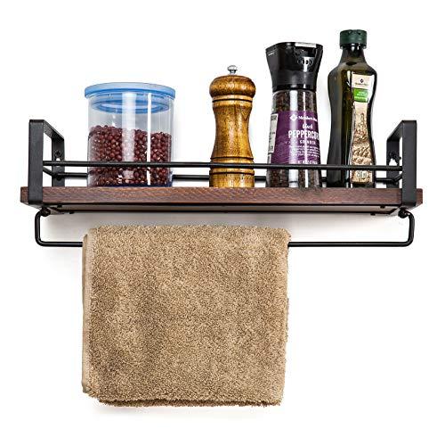 (SODUKU Rustic Kitchen Wood Wall Shelf, Spice Rack Shelf with Towel Bar,Wood and Metal Floating Shelves Wall Mounted Toilet Storage Shelf for Kitchen Bathroom Bedroom Living Room)