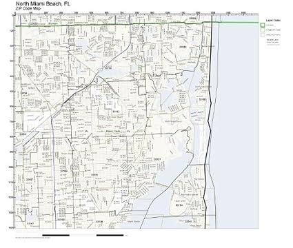 Amazon Com Zip Code Wall Map Of North Miami Beach Fl Zip Code Map