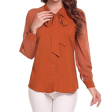 AiBarle - Camisa Elegante de Gasa para Oficina (Talla Grande), Color Blanco Naranja Naranja Medium: Amazon.es: Electrónica