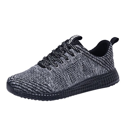5 Mens Running Shoes (KONHILL Women's Knit Breathable Casual Sneakers Lightweight Athletic Tennis Walking Running Shoes, Gray, 35)