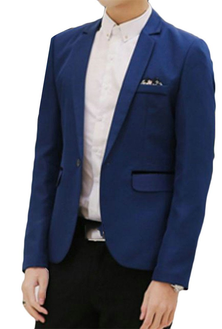 Hajotrawa Men's Solid One Button Lapel Neck Long Sleeve Jewelry Blue XL