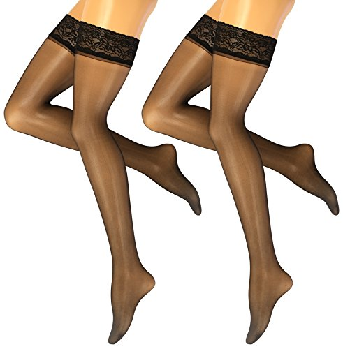 YENITA 2 Pairs Satin Sheer Thigh High Stockings Lace with Double Silicone Hold Ups Stockings (Black, (Satin Sheer Thigh Highs)