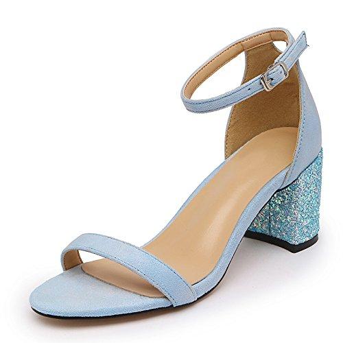 SUHANG sandals fente Sangle Sandales femelle sauvage Dew-toe Chaussures 亮 épais avec chaussures à talons hauts femelle étudiants Chaussures bleu clair qXS9qGI