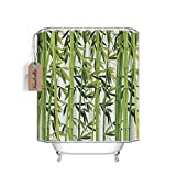 Bamboo Trees Green Spa Bathroom Decor Fabric Shower Curtain,72x 84 Long, Machine Washable, Nature Art Wildlife Prints Home Design