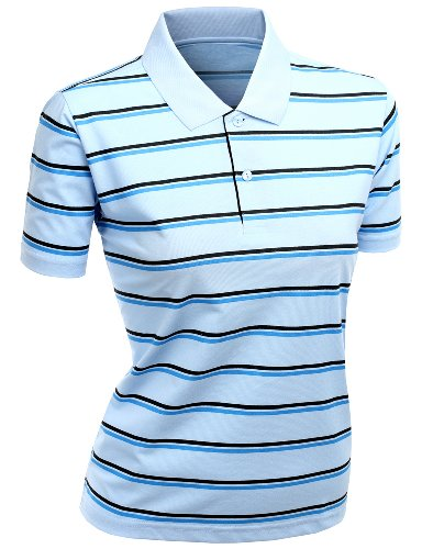 (Women's 180-200 TC Silket Striped Polo Dri Fit Collar T-Shirt SkyBlue XL)