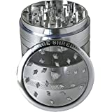 weed grinder acrylic - SAVAGE SHREDDER (SILVER) - Large Herb Grinder, 4 Four Piece with Pollen Catcher, Converts to On-the-go Pocket Grinder, Premium Grade Aluminum, Clear Acrylic Window, 3.5 inches tall