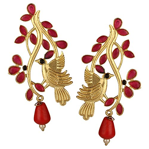 Efulgenz Indian Bollywood 14K Gold Plated Crystal Kundan Pearl Leaf Love Bird Inspired Drop Stud Earrings Jewelry Set
