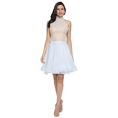 Davids Bridal Beaded Halter Top Short Prom Dress Style 1711p2237 At