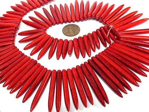- 1 Full strand - Long Red magnesite spike stick beads graduating size strand 16 inches - GM426