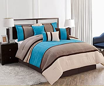 Amazoncom Pieces Luxury Micro Suede Turquoise Blue Grey - Blue and grey comforter sets