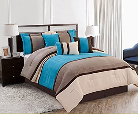 7 pieces luxury micro suede turquoise blue grey comforter set bedin