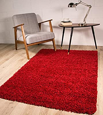 Soft Thick Luxury Wine Red Shaggy Shag Area RUG 9 SIZES AVAILABLE