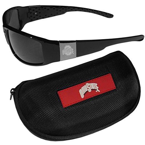 NCAA Ohio State Buckeyes Chrome Wrap Sunglasses & Zippered Carrying - Ohio Sunglasses State