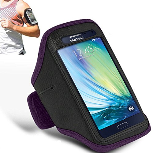 Price comparison product image Samsung Galaxy A7 - Adjustable Armband Gym Running Jogging Sports Case Cover Holder + Polishing Cloth ( Dark Purple )