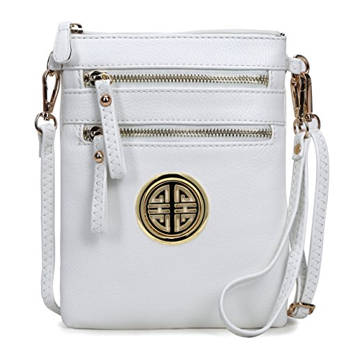 Solene Women's Faux Leather Multi Zipper Adjustable Shoulder and Wristlet Crossbody Bag for Cash, Cards and Smartphone with Beautiful Gold Tone Emblem (White) (White Strap Multi)