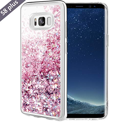 Caka Galaxy S8 Plus Case, Galaxy S8 Plus Glitter Case Luxury Fashion Bling Flowing Liquid Floating Sparkle Glitter Soft TPU Case for Samsung Galaxy S8 Plus (Rose Gold)