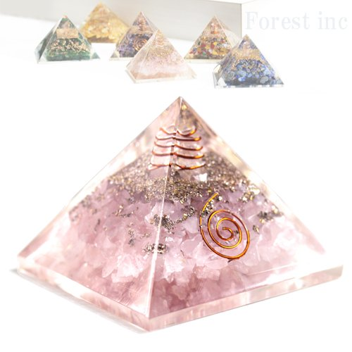 高品質 ピラミッド オルゴナイト レイキ マントラシンボル 置物 【ローズクォーツ】1個 B06W9M9JZF 【ローズクォーツ】 【ローズクォーツ】