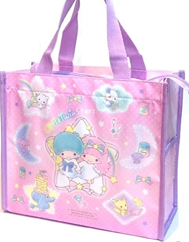 Little Twin Stars Lunch Box Bento Food Storage Zipper Tote Bag w/ Water Bottle Case ()