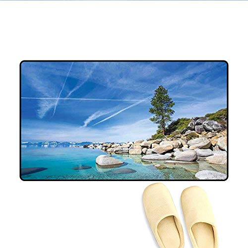 Deodorizer Wizard Liquid (Door-mat Clear Dreamy Sky Over Inland Creek Surrounded by Land Liquid Surface of Earth Print Bathroom Mat for Tub Non Slip Blue Grey 32