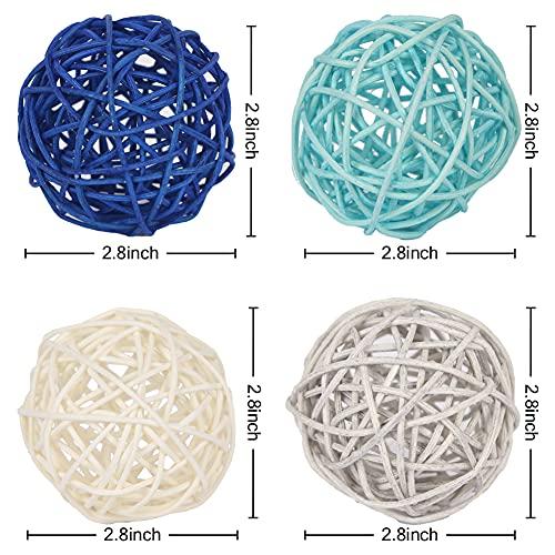 DomeStar Rattan Balls, 16PCS 2.8 Inches Wicker Balls Decorative Balls Natural Decorative Wicker Rattan Balls Orbs Vase Fillers