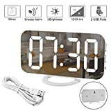 Digital Alarm Clock Large Display, LED Electric Clock Mirror Surface for Makeup with Diming Mode, 3 Levels Brightness, Dual USB Ports Modern Decoration for Home Bedroom Decor-White