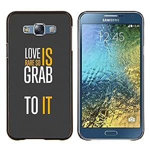 - MESSAGE YELLOW LOVE WHITE TEXT GREY - Caja del tel¨¦fono delgado Guardia Armor- For Samsung Galaxy E7 E7000 Devil Case