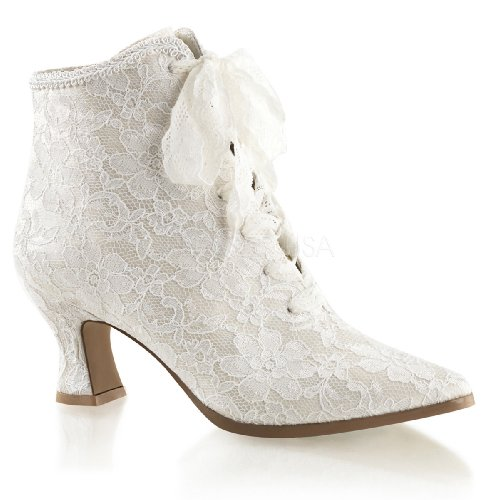 Fabulicious Women's VIC30/Ivsa Boot, Ivory Satin/Lace, 8 M US
