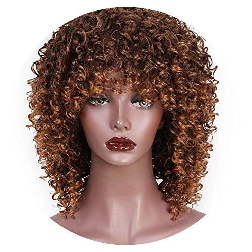High Temperature Fiber Mixed Brown and Blonde Color Synthetic Short Hair Afro Kinky Curly Wigs for Women Black Hair,T4/27/30,14inches ()