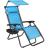 Folding Zero Gravity Lounge Chair W/ Canopy & Magazine Cup Holder-Light Blue