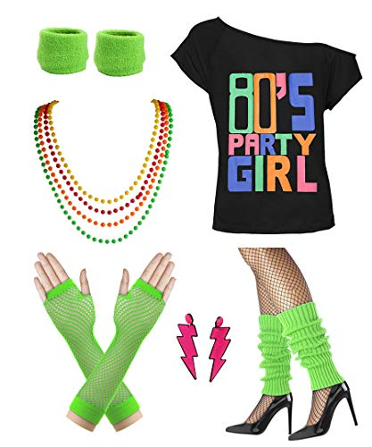 Women 80s Party Girl T-Shirt Costume with Neon Earring Necklace Wristband (XL/XXL, Green)