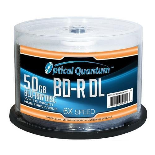 Optical Quantum 6X 50GB BD-R DL White Inkjet Printable Blu-ray Double Layer Recordable Media , 50-Disc Spindle by optical Quantum