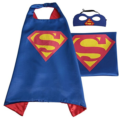 Superman All Blue Costume (Blue Superman Costume Whoopgifts Superhero Cape and Mask Set Kids, Adult Halloween Party Favors, 90CM x 70CM)