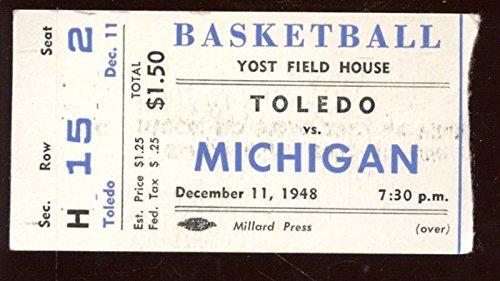 December 11 1948 NCAA Basketball Ticket Stub Toledo vs Michigan EX (Tickets Basketball Ncaa)
