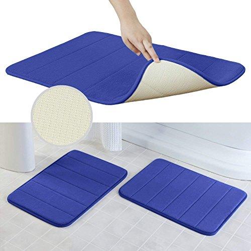 2 Pack Microfiber Memory Foam Bath Mats Bathroom Rug Non Slip Bath Mat Quick Drying And Maximum Absorbency  17 X 24 Inches  Blue