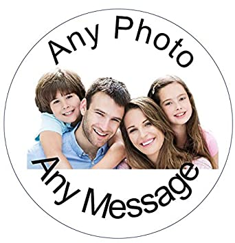 """PERSONALISED PHOTO 7.5/"""" Round icing sheet Cake Topper any message"""